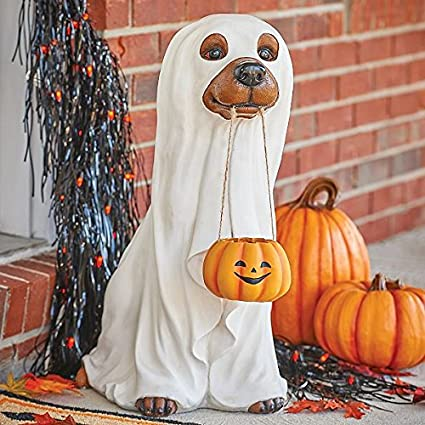 whimsical dog dressed as ghost statue outdoor halloween decoration