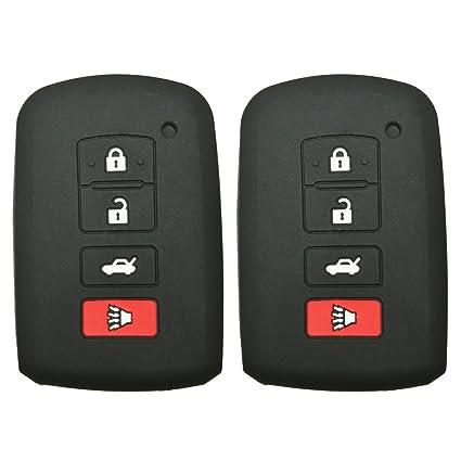 2Pcs Coolbestda Rubber Smart Key Fob Remote Cover Case Protector Keyless  Jacket for 2016 2015 2014 Toyota Avalon Camry Corolla RAV4 Highlander Black