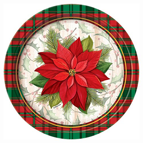 Poinsettia Plaid Holiday Dessert Plates, 8ct