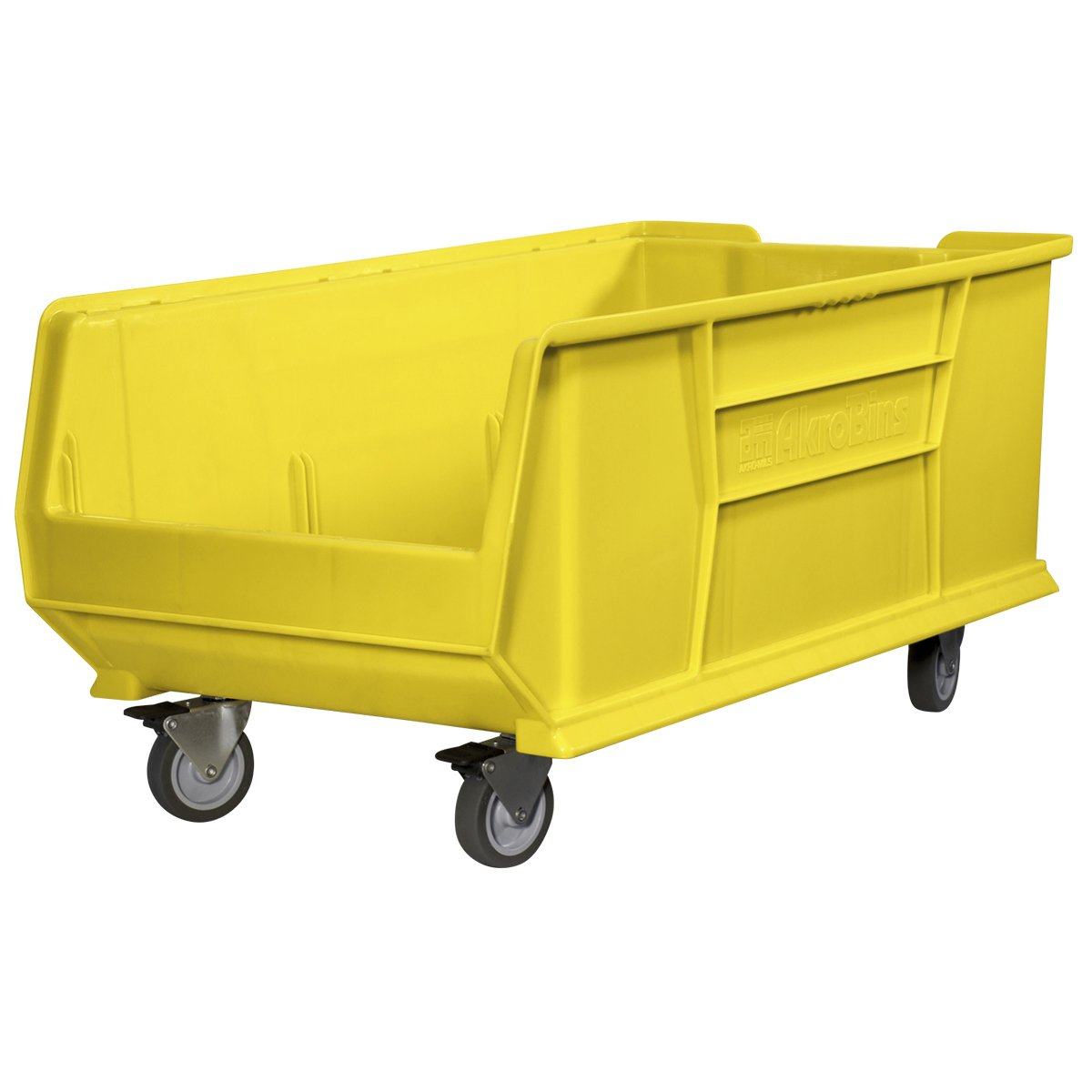 Akro-Mils 30293 Mobile Super Size Plastic Stacking Storage Akro Bin, 30-Inch x 16-Inch x 11-Inch, Yellow