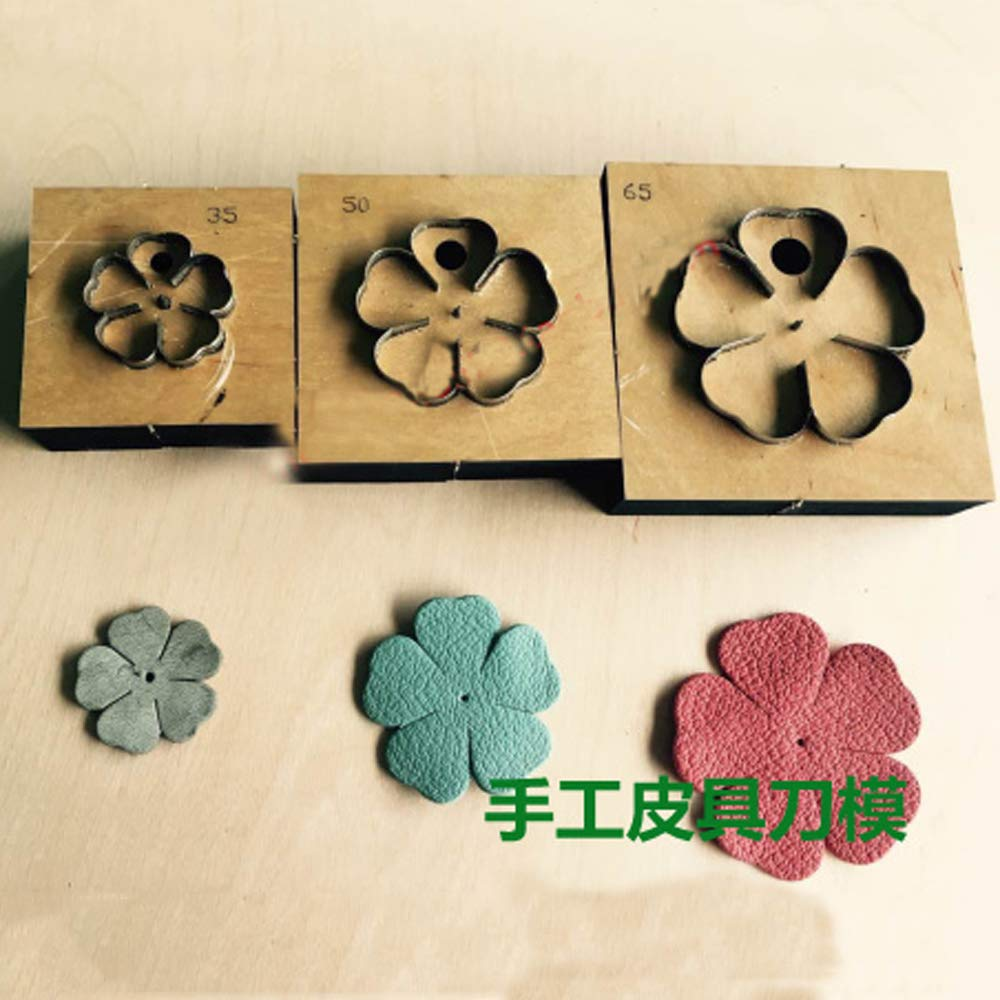 Xennos Japan Steel Blade DIY Leather Craft Five Petal Flower die Cutting Knife Mould Wooden die Hand Punch Tool - (Color: Dia 35mm)