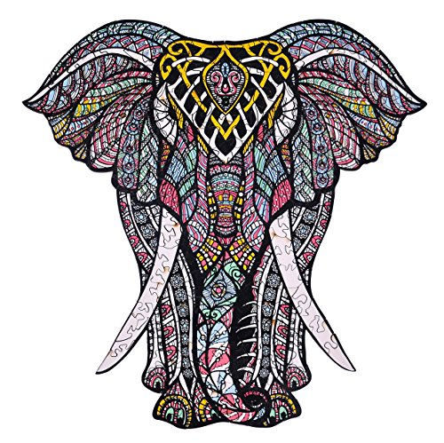 - hartmaze Wooden Jigsaw Puzzles - Decorative Elephant HM-06 Small Size Puzzle 171 Unique Shape Jigsaw Pieces-Beautiful Animal for Adults and Kids- Best for Family Game Play Collection.