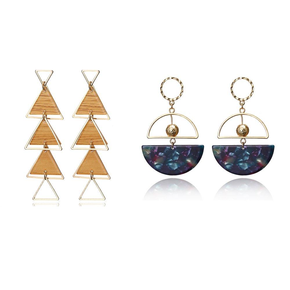 Bohemian Resin Statement Earrings Stud - Punk Acrylic Handmade Drop Dangle Earrings Geometry Flower Earrings (Style 13)