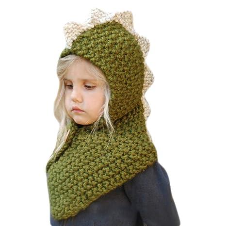 Vivianu unisex bambino cappello invernale sciarpa set cappello lavorato a  maglia Wrap cutest Cartoon Animal Hood d046928c9bf4