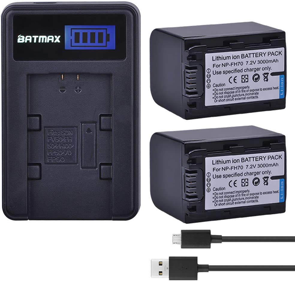Batmax 2Packs Battery(3000mAh) + LCD USB Charger for Sony NP-FH70 H Series Sony NP-FH30,NP-FH40,NP-FH50,FH60,FH70,NP-FH90,NPFH100 Batteries;Sony Handy Cam DCR-DVD850 SX40 SX41 SX60 HDR-CX100 TG5 CX500