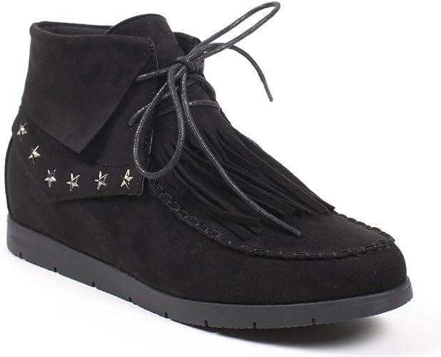 Shoes Bottines Effet avec avec Franges Daim Lacets Ideal à Kl3TcF1J