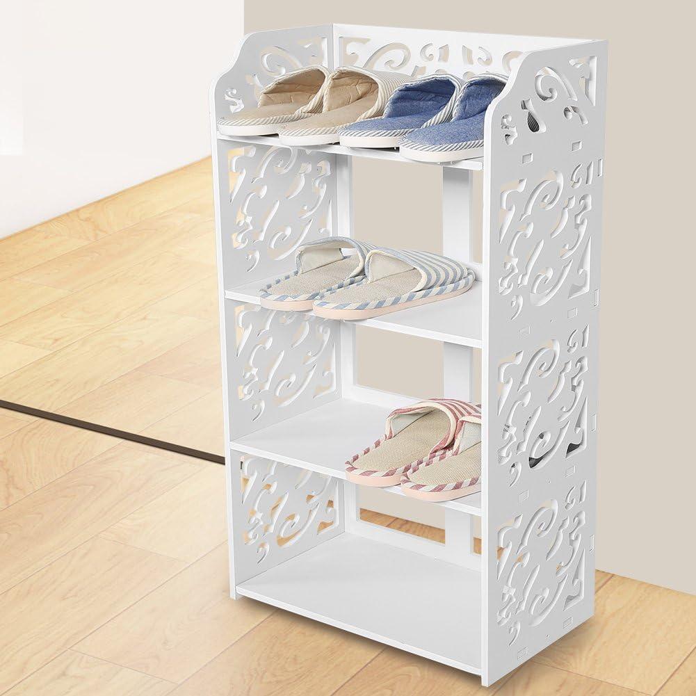 EBTOOLS estanter/ía de Almacenamiento Mueble de almacenaje estanter/ía de Madera estanter/ía para Calzado Libros CD 3//4//5/Pisos Color Blanco Perforada 3 /étages