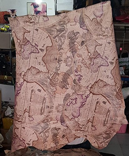 NWマップパターン豚革0.5 MM厚さピンクカラースキンfor DIY 6sq.ft LP002 B079GVSZJH  6sq.ft