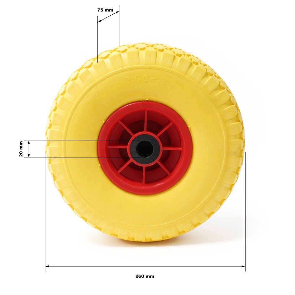 Hardened Steel Spindle Puncture Proof PU Wheel Wheelbarrow-Complete Size 3.00-4 Solid Rubber
