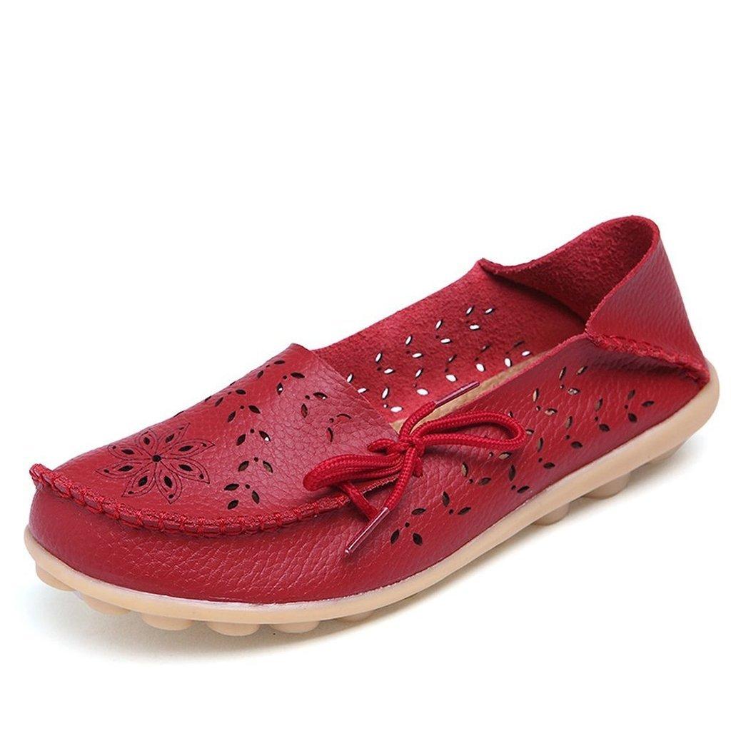 Oriskey Damen Mokassin Bootsschuhe Leder Loafers Schuhe Flache Fahren Halbschuhe Sandalen  43 EU|Rot