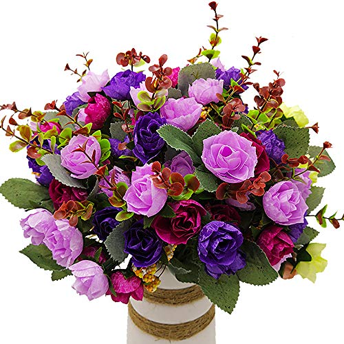 Tiny Purple Flowers - Grunyia Artificial Fake Flowers Silk Tiny Rose Flowers Wedding Bridal Bouquet Home Decoration,Pack of 4(Purple)