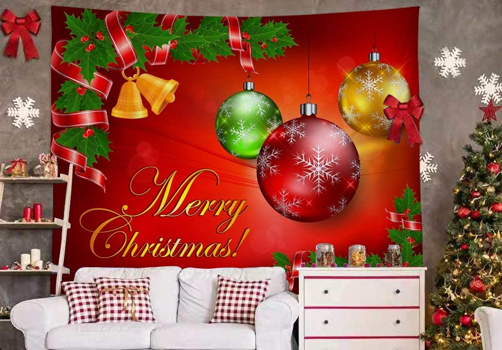 Xmas Wall Hanging Tapestry Decoration-(2020 NEW)Holiday Home Bedroom Living Room Wall Decor Fire Branches Colorful Baubles Golden Bell Merry Christmas Blessing Big Small Extra Large Gift Talestry S