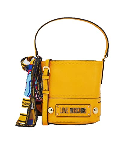 fda90c2c71d Amazon.com: LOVE Moschino Women's Bucket Bag with Scarf Yellow One Size:  Shoes