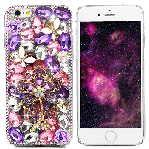 iPhone 6S Case,iPhone 6 Case (4.7 Inch) - Maviss Diary 3D Handmade Luxury Bling Crystal Purple Flower with White Butterfly Colorful Diamond Gems Design [Full Edge Protection] Clear Case Hard PC Cover