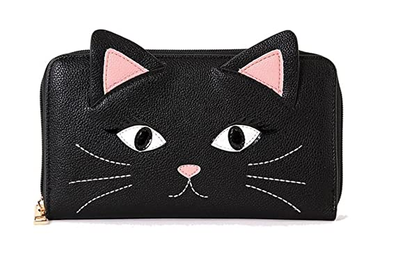 Black Cat Face Zip Around Wallet at Amazon Women s Clothing store  e96109e8b9