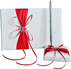 he andi 1 Wedding Guest Book + 1 Pen Set Decor Red Ribbon Bowknot, Double Heart Diamante Crystal Rhinestone Buckle (Red)