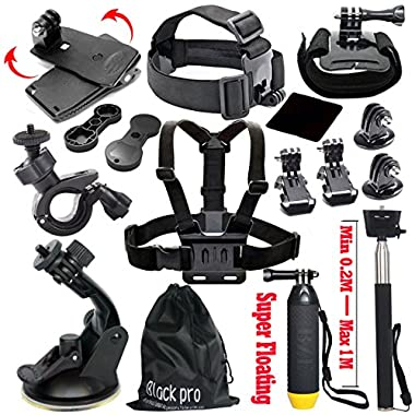 Black Pro Basic Common Outdoor Sports Kit for GoPro Hero 5 / Session 5/4/3/2/1 (13 Items)