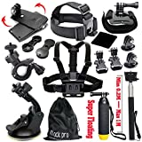 Photo : Black Pro Basic Common Outdoor Sports Kit for GoPro Hero 6 /GoPro Fusion/HERO 5/Session5/ 4 / 3+ / 3 / 2 / 1 SJ4000 /5000/ 6000 /AKASO/ APEMAN/ DBPOWER/ And Sony Sports DV and More
