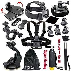 Black Pro Basic Common Outdoor Sports Kit For Gopro Hero 6 Gopro Fusionhero 5session5 4 3+ 3 2 1 Sj4000 5000 6000 Akaso Apeman Dbpower & Sony Sports Dv & More