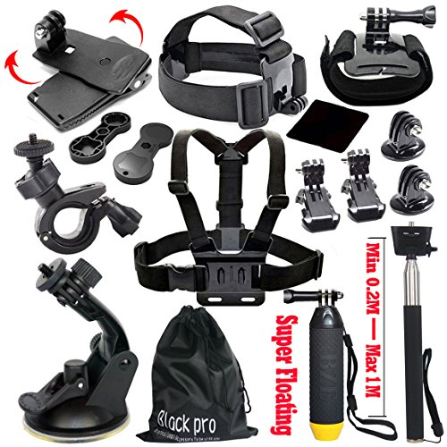 Black-Pro-Basic-Common-Outdoor-Sports-Kit-for-GoPro-Hero-6-GoPro-FusionHERO-5Session5-4-3-3-2-1-SJ4000-5000-6000-AKASO-APEMAN-DBPOWER-And-Sony-Sports-DV-and-More