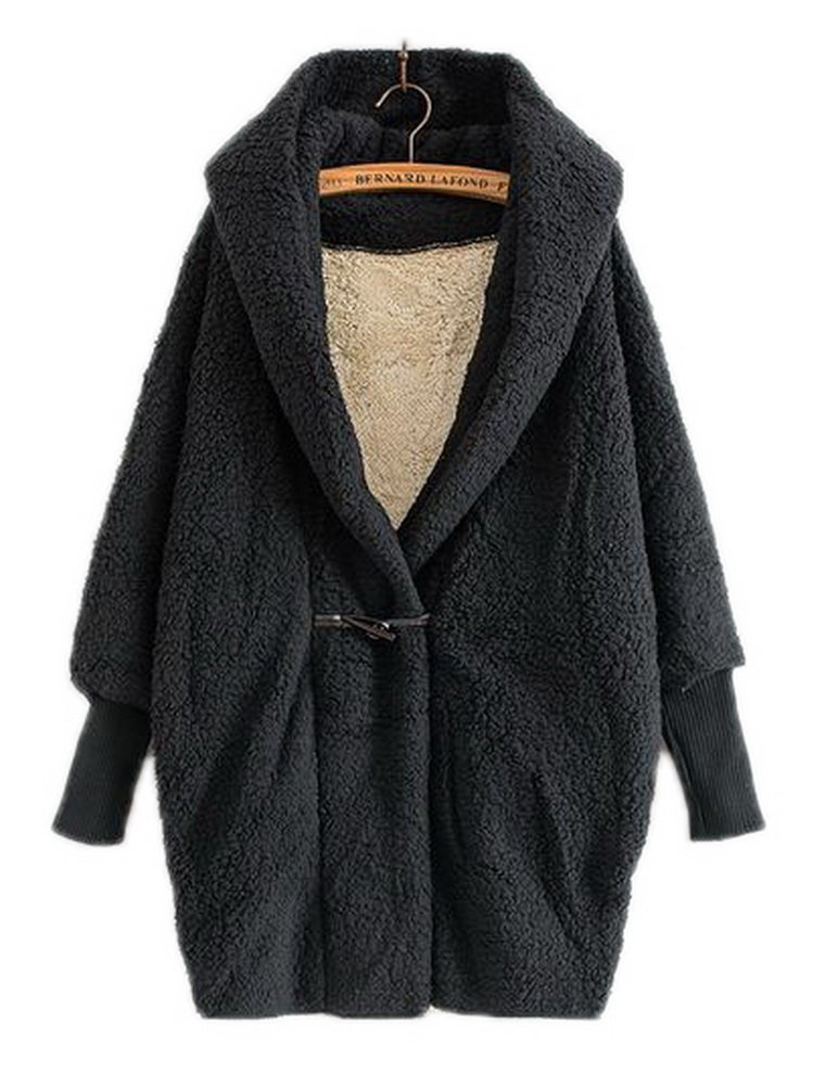 Women's Brown Lamb Hooded Coat Cardigan Plus Size Bell Sleeve Blanket Jacket Thicken Coats with Horns Button,One Size