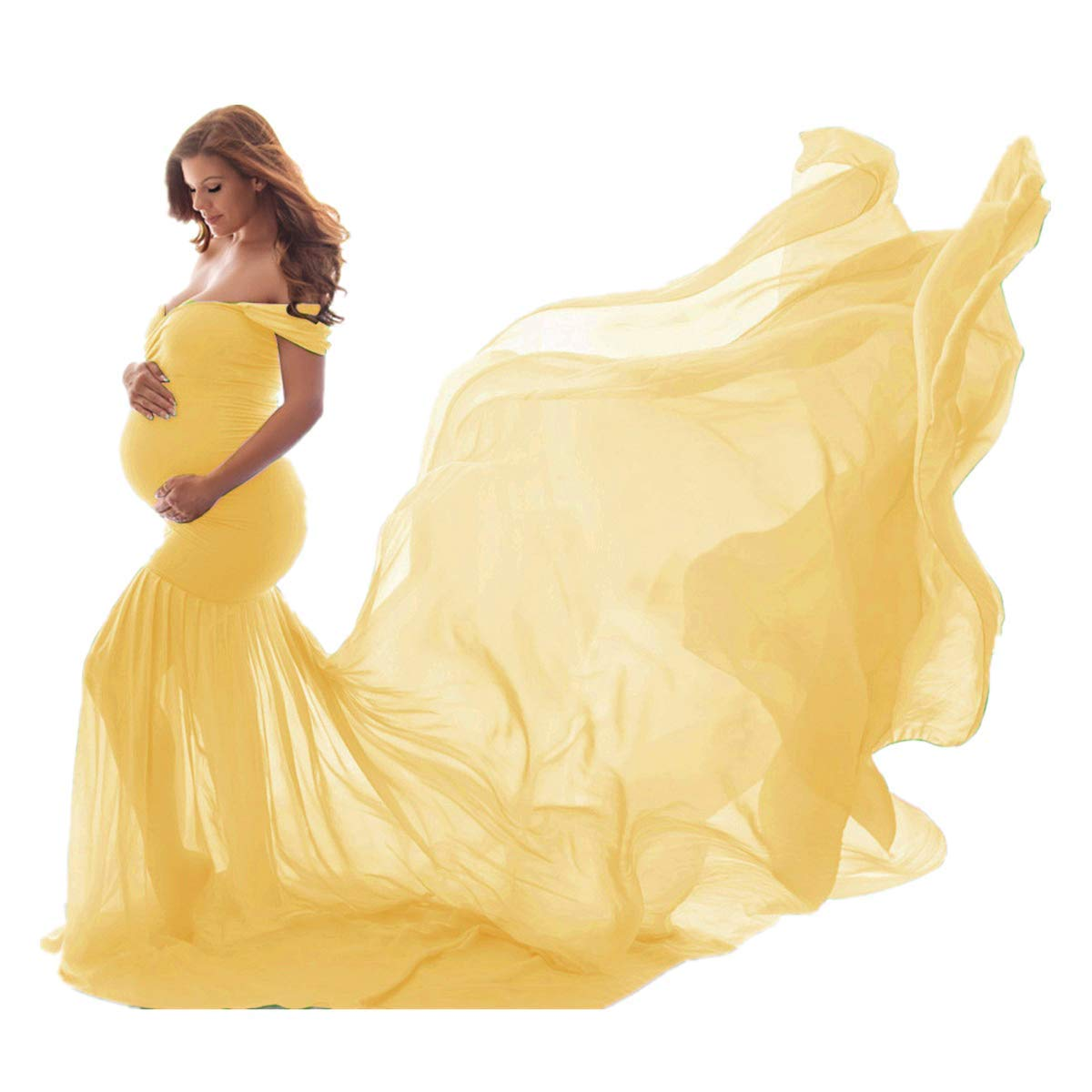 Floor Length Maternity Dresses Photography Maxi Dresses Chiffon Elegant Strapless Long Women Dress Maternity Fairy Dress Photos