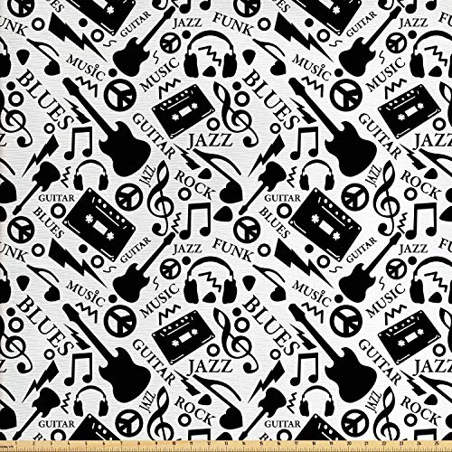 - Ambesonne Music Fabric by The Yard, Blues Jazz Punk Rock Various Type of Folk Indie Rap Reggae Peace Sign Sing Artwork, Decorative Fabric for Upholstery and Home Accents, 1 Yard, Black White