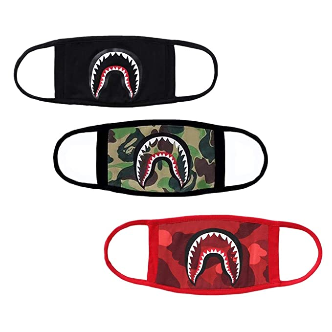 3 Pack Shark Face Mask,Cotton Fashion Anti Dust Bape Half Face Mouth Mask For Boys And Girls by Wo Lover