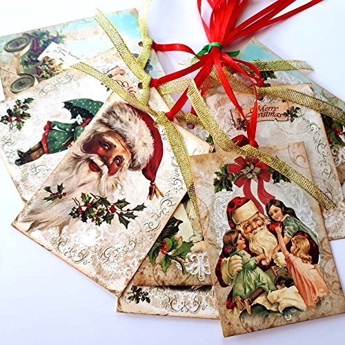 Vintage Merry Christmas Gift Tags - Winter Holiday Presents and Journal Planner Tags - Set of - Victorian Tags Gift