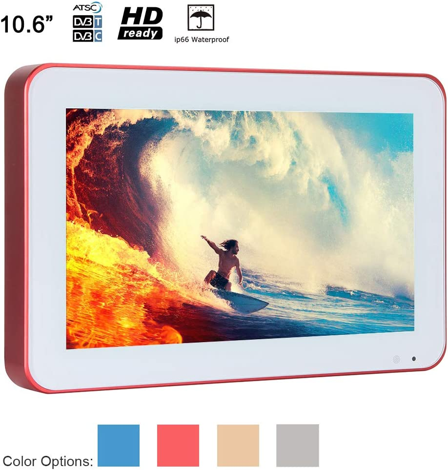 Soulaca 10.6 inches IP66 Waterproof TV with Blue Frame Portable LED Shower Televisions