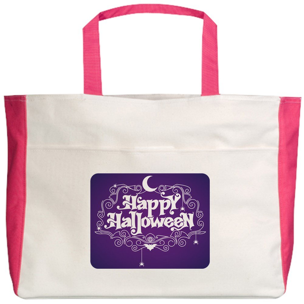 Royal Lion Beach Tote 2-Sided Happy Halloween Bats and Spiders
