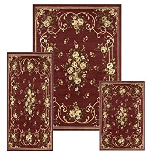 Creative Home Area Rugs Ariana Rug 11028 French Country Floral Red 3 Piece Set