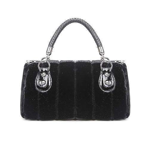 Amazon.com  Marchome Faux Fur 3-Way Tote Satchel Handbag Boston Bag for  Women Black  Shoes c63e8daafe46c