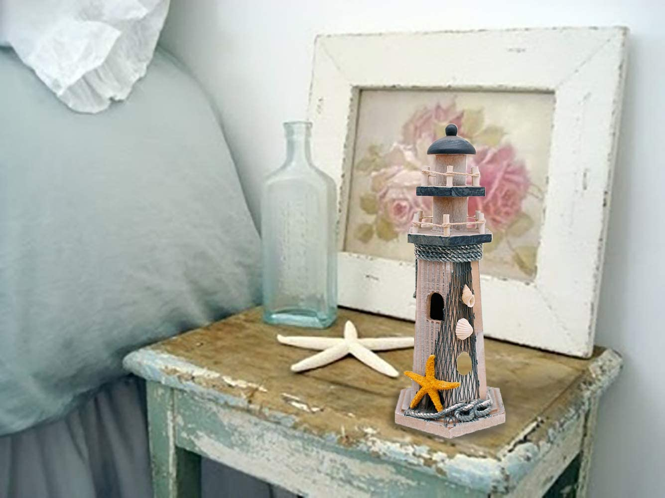 Wooden Lighthouse Seaside Decor Marine Ornament Anchor /& Shell /& Net Photograph Setting 14.5 H, Fish /& Starfish WHY Decor Handmade Cute Lighthouse Home Decor Article
