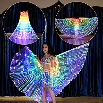 Brianer Rainbow LED Belly Dance Isis Angel Butterfly Wing, Shawl Fairy Performance Clothing, Glow Light Up Belly Dance Costumes for Children: Clothing
