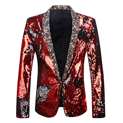 PYJTRL Men Stylish Two Color Conversion Shiny Sequins Blazer Suit Jacket (Red + Black, L/42R)