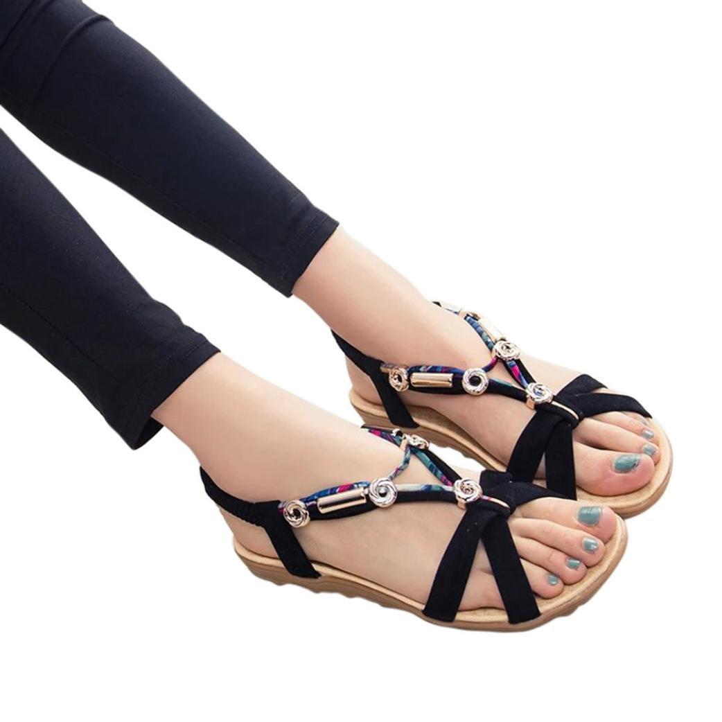 Women Fashion Summer Sandals Shoes Peep-Toe Low Shoes Roman Sandals Boho Flip Flops B07D74SQVB 4 B(M) US|Black