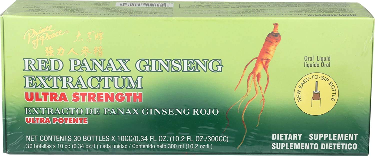Prince of Peace Red Panax Ginseng Extractum Ultra Strength, 30 Bottles, 0.34 fl. oz. Each – Brain Boosting Supplement – Red Panax Ginseng Shots – Support Energy, Mood, & Focus
