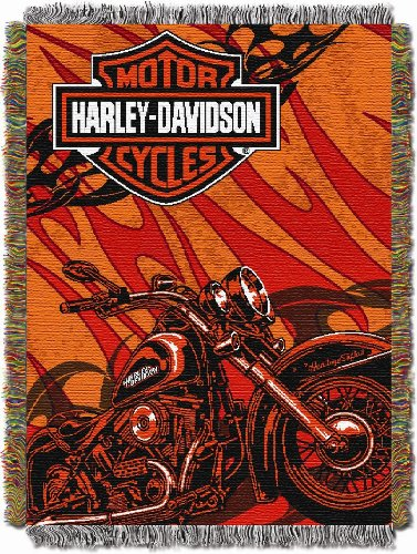 Harley Davidson, Cycle 48-Inch-by-60-Inch Acrylic Tapestry Throw