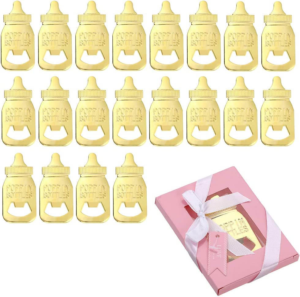 MDLUU 20 Pcs Bottle Openers Return Gifts, Baby Shower Favors, Party Favors, Bottle Opener with Pink Package for Guest Souvenirs, Birthday Party, Wedding Decor (Feeding Bottle)