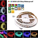 SZZCCC Led Strip Lights, Waterproof Strip Lamp,5050 RGB Flexible Strip Lights, 300 Leds,Multi-colors, Without Power Supply and Remote For Bedroom,Bar,Party,Car, And Decoration.(5m.16.4ft/reel)