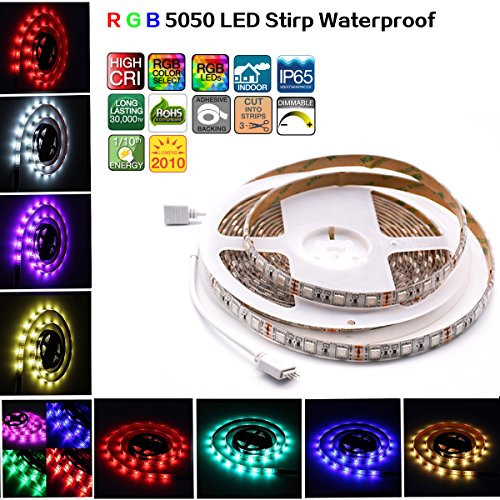 Led Strip Lights, Waterproof Strip Lamp ,5050 RGB Flexible Strip Lights, LED Tape, 300 Leds ,Multi-colors, Without Power Supply and Remote For Bedroom,Bar,Party,Car, And (Reel String Light)