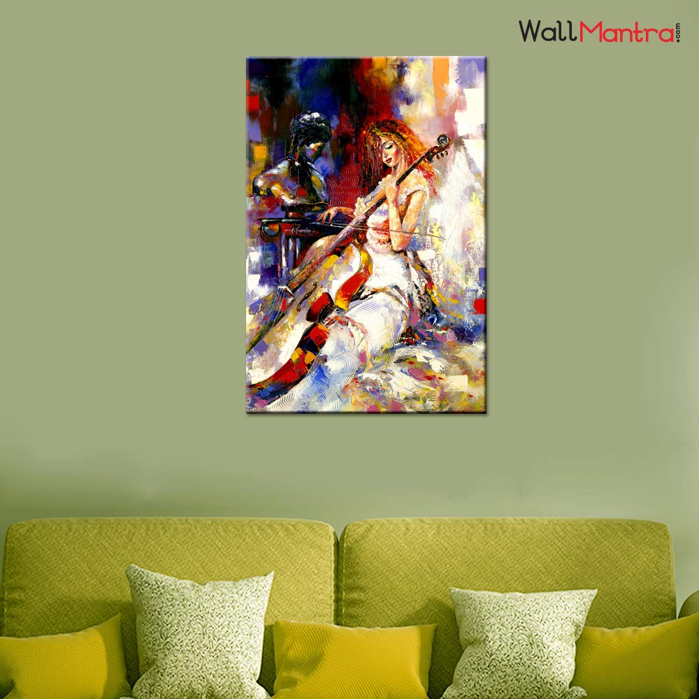 LANDSCAPE PICTURE PRINT ON FRAMED CANVAS WALL ART PAINTING GIRL PLAYING VIOLIN