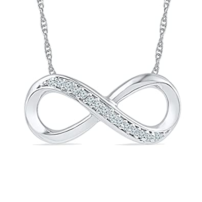 Amazon sterling silver round diamond infinity necklace 110 sterling silver round diamond infinity necklace 110 cttw mozeypictures