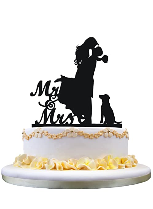 Amazon Com Cake Topper With Dog Pet Mr Mrs Bride And Groom