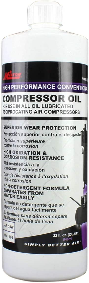 Milton High Performance Air Compressor Oil 1002-32, Superior Wear Protection, Resist Oxidation and Corrosion, Compatible with Lubricated Air Compressors, 32 Ounce, SAE 30, ISO 100