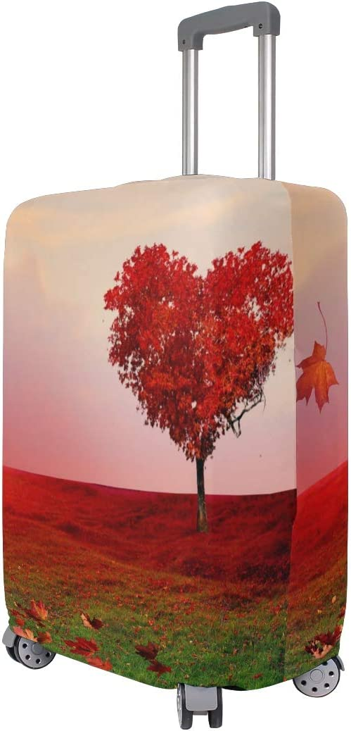 OREZI Luggage Protector,Red Heart Tree Autumn Leaves Elastic Travel Luggage Suitcase Cover,Washable and Durable Anti-Scratch Case Protective Cover for 18-32 Inches