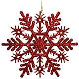 "4.5"" Huge Christmas Glitter Snowflake Earrings, in Red with Glitter Finish"
