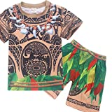 DGFSTM Maui Boys Pajamas Short Sets 2-Piece Sleepwear, Patterned Tattoo Print T Shirt Pants Costume Set Clothing Kids (100CM(3-4 Years Old))