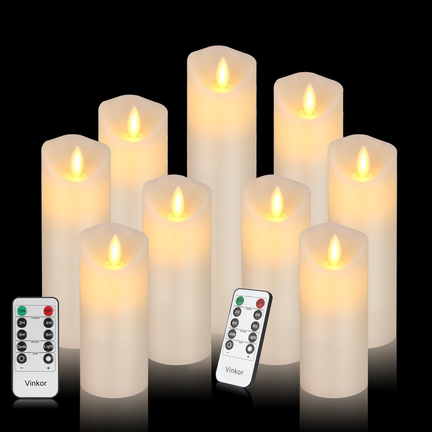 Vinkor Flameless Candles Led Candles Set of 9(H 4'' 5'' 6'' 7'' 8'' 9'' xD 2.2'') Ivory Real Wax Battery Operated Candles with Moving LED Flame & 10-Key Remote Control 2/4/6/8 Hours Timer